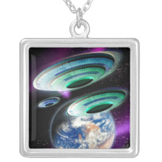 UFOs Silver Plated Necklace