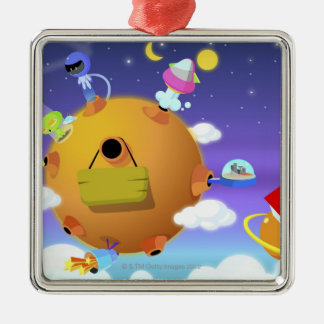 UFO's with planets in space Christmas Ornament