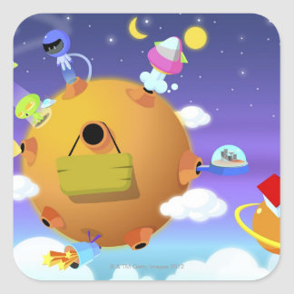 UFO's with planets in space Square Sticker