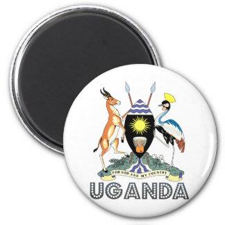 Uganda Coat of Arms 6 Cm Round Magnet