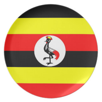 uganda country flag plate