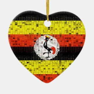 Uganda Flag glitter ornament