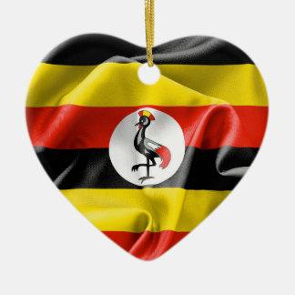 Uganda Flag Heart Ceramic Christmas Ornament
