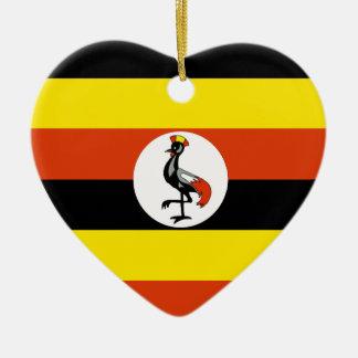 Uganda Flag Heart Christmas Ornament
