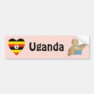 Uganda Flag Heart + Map Bumper Sticker