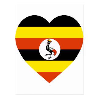 Uganda Flag Heart Postcard