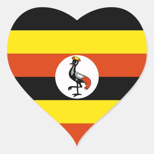 Uganda Flag Heart Sticker