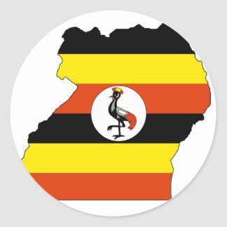 Uganda flag map classic round sticker