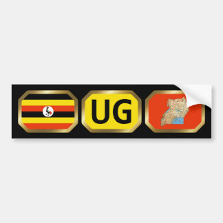 Uganda Flag Map Code Bumper Sticker