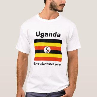 Uganda Flag + Map + Text T-Shirt