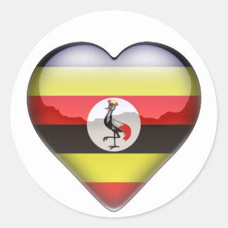 Uganda Heart Classic Round Sticker