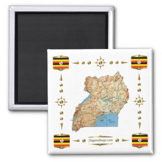 Uganda Map + Flags Magnet