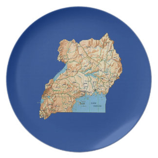 Uganda Map Plate