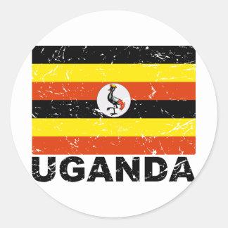 Uganda Vintage Flag Round Sticker