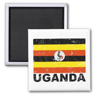 Uganda Vintage Flag Square Magnet