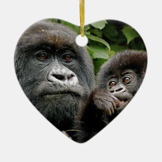 Ugandan Gorillas Ceramic Heart Decoration