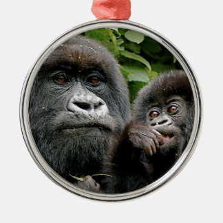 Ugandan Gorillas Silver-Colored Round Decoration
