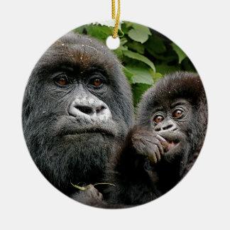 Ugandan Mother & Baby Gorilla Round Ceramic Decoration