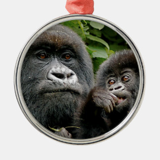 Ugandan Mother & Baby Gorilla Silver-Colored Round Decoration