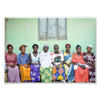 Ugandan rural women i traditional clothing photo print