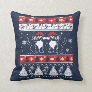 Ugly Christmas Design with Crazy Cats Cushion