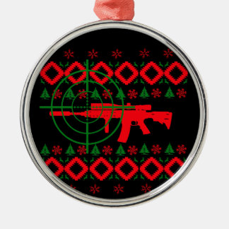 Ugly Christmas gun Silver-Colored Round Decoration