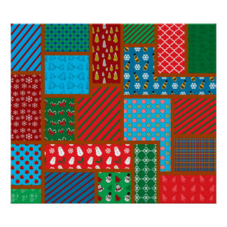 Ugly christmas square pattern posters