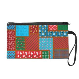 Ugly christmas square pattern wristlet clutch