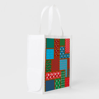 Ugly christmas square pattern grocery bag