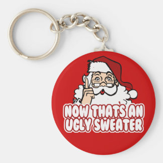 Ugly Christmas Swear Santa Claus Basic Round Button Key Ring