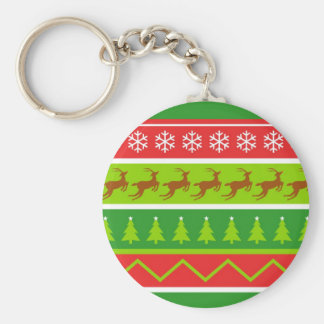 Ugly Christmas Sweater Basic Round Button Key Ring