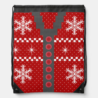 Ugly Christmas Sweater Design Drawstring Bags