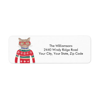 Ugly Christmas Sweater Funny Cat Return Address