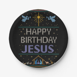 Ugly Christmas Sweater - Happy Birthday Jesus Paper Plate