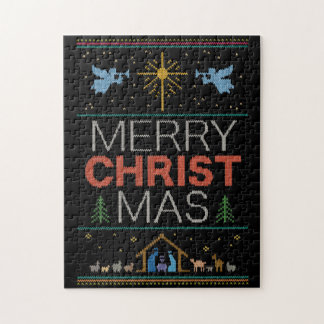 Ugly Christmas Sweater Merry Christ Mas Religious Jigsaw Puzzle
