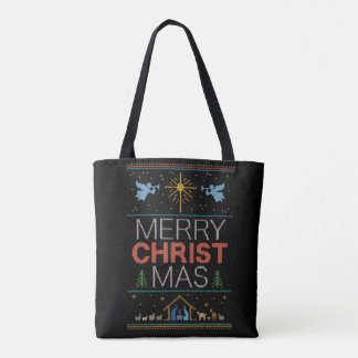 Ugly Christmas Sweater Merry Christ Mas Religious Tote Bag