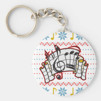 Ugly Christmas Sweater Music Notes Basic Round Button Key Ring