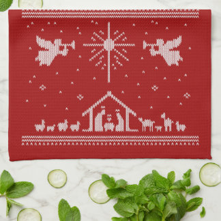 Ugly Christmas Sweater Nativity Religious Red Tea Towel