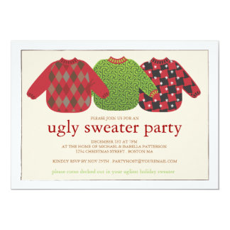 "Ugly Christmas Sweater Party Invitation 5"" X 7"" Invitation Card"