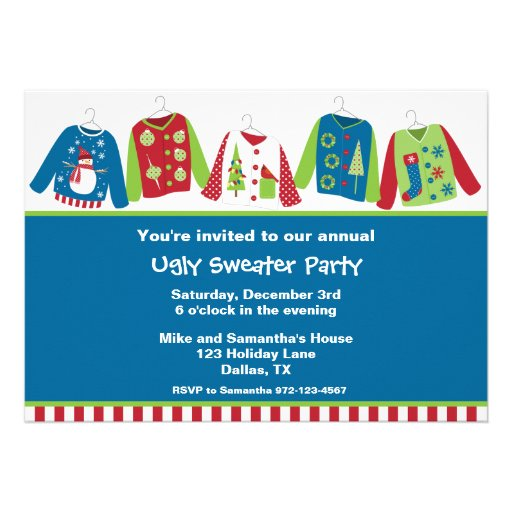 Ugly Christmas Sweater Party Invitations Personalized Invites