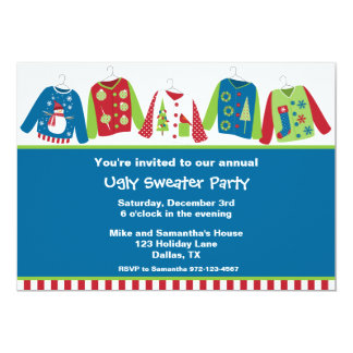 "Ugly Christmas Sweater Party Invitations 5"" X 7"" Invitation Card"