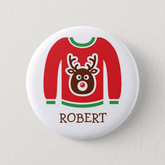 Ugly Christmas Sweater Party Name Tags 6 Cm Round Badge