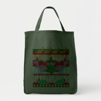 Ugly Christmas Sweater Pattern Cute Dinosaurs Tote Bags
