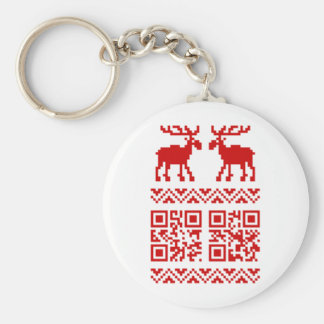 Ugly Christmas Sweater QR Code Happy New Year ! Basic Round Button Key Ring