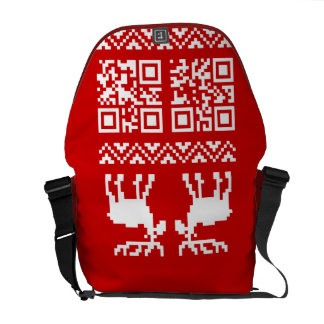 Ugly Christmas Sweater QR Code Happy New Year ! Courier Bags