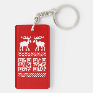 Ugly Christmas Sweater QR Code Happy New Year ! Double-Sided Rectangular Acrylic Key Ring
