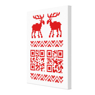 Ugly Christmas Sweater QR Code Happy New Year ! Gallery Wrap Canvas