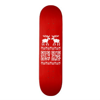 Ugly Christmas Sweater QR Code Happy New Year ! Skate Deck