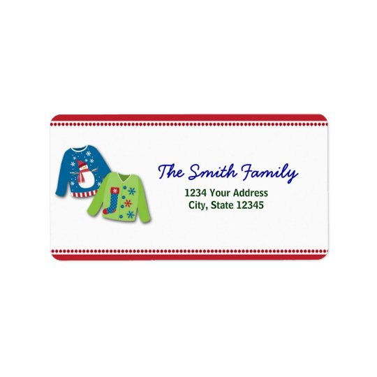 Ugly Christmas Sweater Return Address Labels
