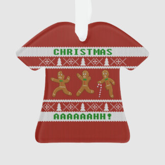 Ugly Christmas Sweater Scared Gingerbread Men Red
